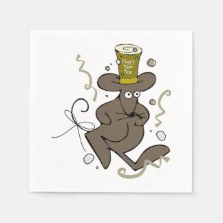 Guardanapo de papel do rato do feliz ano novo