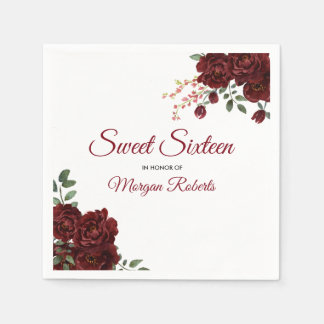 Guardanapo De Papel Doce floral 16 da rosa vermelha romântica de