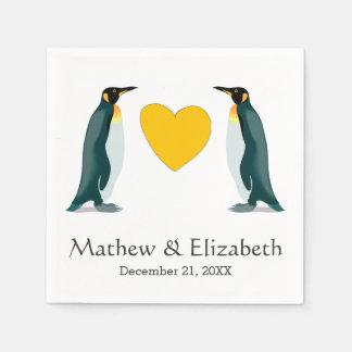 Guardanapo De Papel Dois coração amarelo | dos pinguins | que Wedding