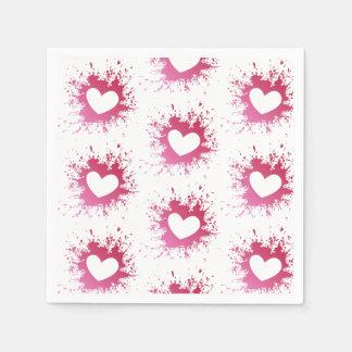 Guardanapo de papel dos corações cor-de-rosa