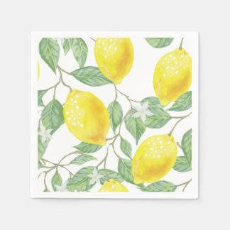 Guardanapo de papel dos limões e das folhas