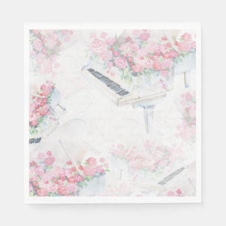 Guardanapo de papel dos rosas brancos do rosa do