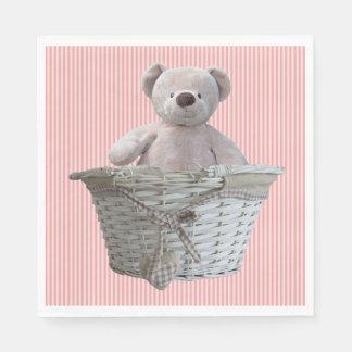 Guardanapo De Papel É um chá de fraldas das listras do rosa do urso de