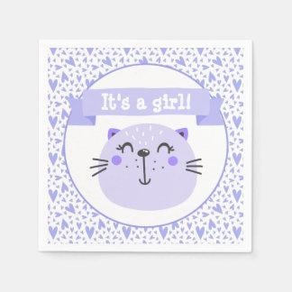 Guardanapo De Papel É um chá de fraldas roxo bonito do gato | da
