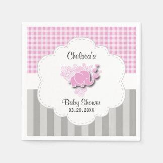 Guardanapo De Papel Elefante cor-de-rosa & branco do bebê das listras