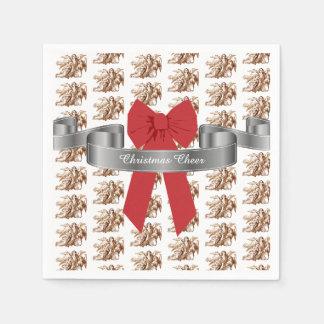 Guardanapo De Papel Elogio vermelho grande do Natal do arco e dos