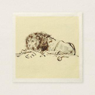 Guardanapo De Papel Esboço japonês da tinta do vintage de um leão