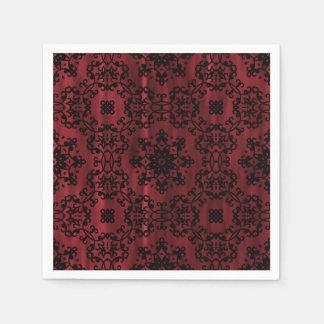 Guardanapo De Papel Escuro - grunge gótico vermelho e preto geométrico