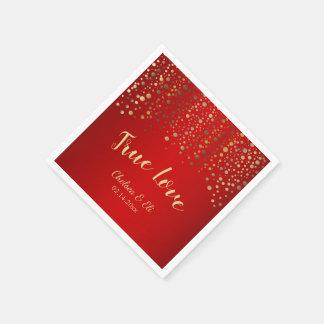 Guardanapo De Papel Escuro - vermelho e pontos dos confetes do ouro
