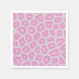 Guardanapo De Papel Estilo do leopardo de neve - rosa de prata