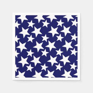 Guardanapo De Papel Estrelas patrióticas do branco de w dos azuis