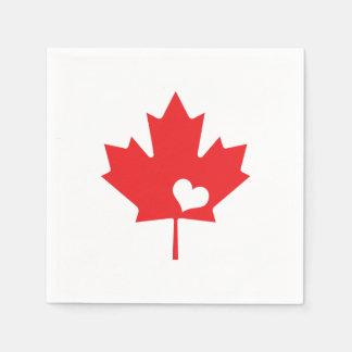 Guardanapo De Papel Eu amo Canadá - coração canadense da folha de