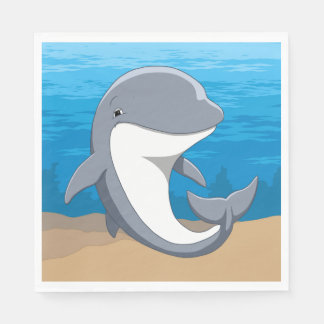 Guardanapo De Papel Eu amo o Bottlenose bonito dos golfinhos