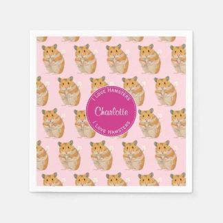 Guardanapo De Papel Eu amo o teste padrão cor-de-rosa do hamster dos