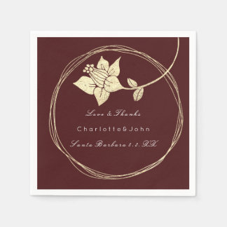 Guardanapo De Papel Evento floral Wedding1 nupcial do ouro marrom de