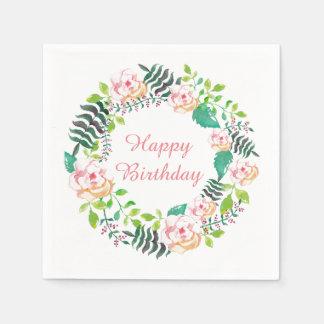 Guardanapo De Papel Feliz aniversario da grinalda floral cor-de-rosa