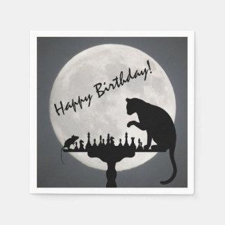 Guardanapo De Papel Feliz aniversario do jogo do gato e do rato da Lua