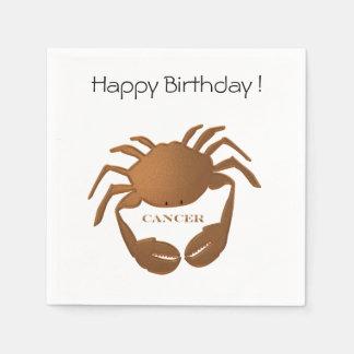 Guardanapo De Papel Feliz aniversario do zodíaco do caranguejo do