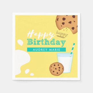 Guardanapo De Papel Feliz aniversario dos biscoitos do leite e dos