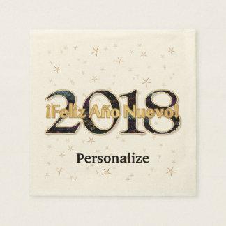 Guardanapo De Papel ¡ Feliz Año Nuevo! Ouro de 2018 fogos-de-artifício