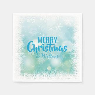 Guardanapo De Papel Feliz Natal branco azul personalizado dos flocos