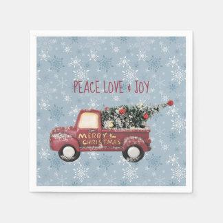 Guardanapo De Papel Feliz Natal do caminhão do brinquedo do amor & da