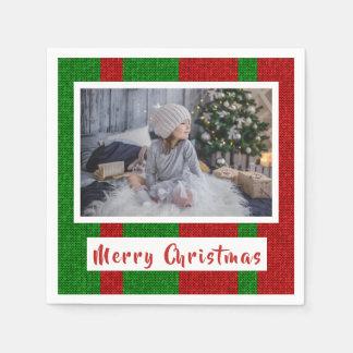 Guardanapo De Papel Feliz Natal em fazer malha a foto vermelha e verde