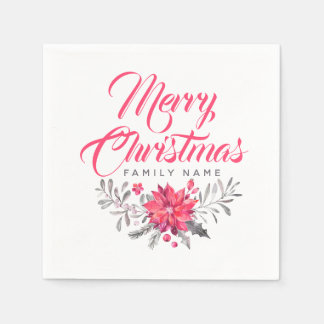 Guardanapo De Papel Feliz Natal moderno da tipografia & buquê floral