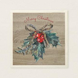 Guardanapo De Papel Feliz Natal rústico do olhar do azevinho e da