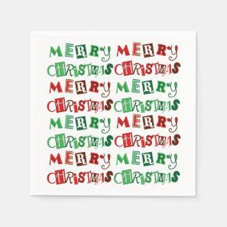 Guardanapo De Papel Feliz Natal vermelho e verde do divertimento