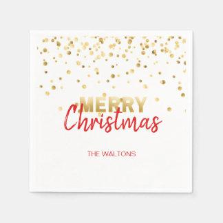 Guardanapo De Papel Feliz Natal VERMELHO personalizado dos confetes do