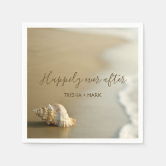 Guardanapo De Papel Feliz nunca após o Seashell no casamento de praia