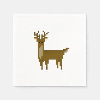 Guardanapo De Papel feriado de 8 bits do Natal da rena do Gamer
