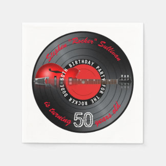 Guardanapo De Papel Festa de aniversário do registro 50th da guitarra