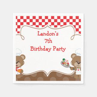Guardanapo De Papel Festa de aniversário do urso do cozinheiro chefe
