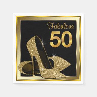 Guardanapo De Papel Festa de aniversário elegante do salto alto 50th