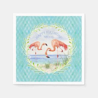 Guardanapo De Papel Festa de aniversário feliz do flamingo da praia da