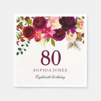 Guardanapo De Papel Festa de aniversário floral vermelha do 80 de