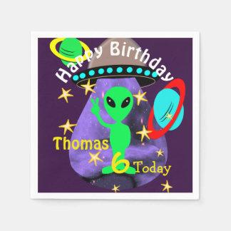 Guardanapo De Papel Festa de aniversário temático bonito da alienígena