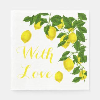 Guardanapo De Papel Festa de casamento amarela do verde do limão do