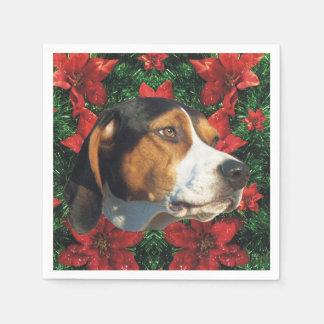 Guardanapo De Papel Festa de Natal do Coonhound do caminhante de