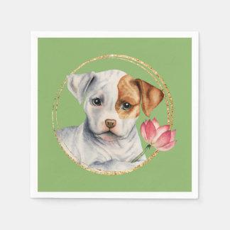 Guardanapo De Papel Filhote de cachorro que guardara a flor de Lotus