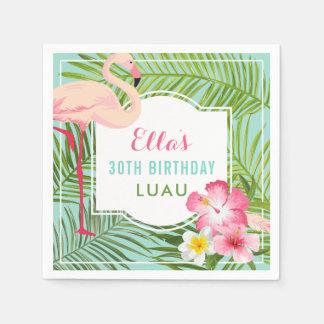 Guardanapo De Papel Flamingo tropical de Luau | do aniversário