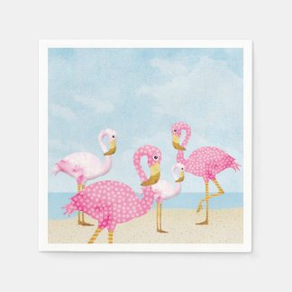 Guardanapo De Papel Flamingos cor-de-rosa na praia