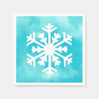 Guardanapo De Papel Floco de neve branco no fundo azul da aguarela