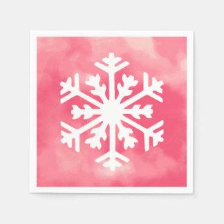 Guardanapo De Papel Floco de neve branco no fundo cor-de-rosa da