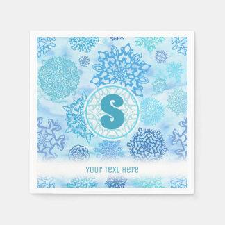 Guardanapo De Papel Flocos de neve da aguarela com monograma e texto