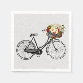 Guardanapo De Papel flor branca da bicicleta da bicicleta dos