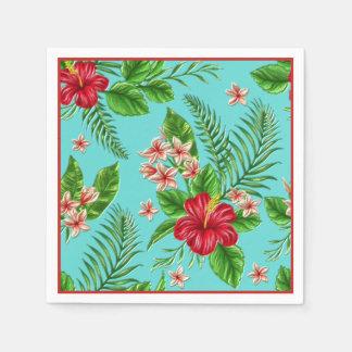 Guardanapo De Papel Flor tropical coral bonito do hibiscus na turquesa