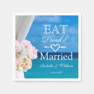 Guardanapo De Papel Floral elegante come o casamento de praia casado